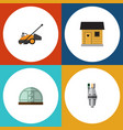 flat icon farm set of lawn mower stabling vector image vector image