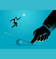 giant thumb helping businessman to jump on seesaw vector image vector image