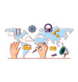 hand with continents and social media set icons vector image vector image
