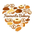 Heart shaped cakes sweets and bread badge vector image