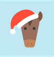 horse wearing santa hat flat icon design vector image vector image