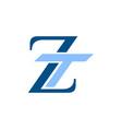 initial letter logo zt tz lowercase white black vector image