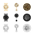 isolated object of clock and time symbol set of vector image vector image