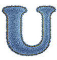 Jeans alphabet Denim letter U vector image vector image