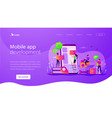 mobile application development landing page vector image vector image