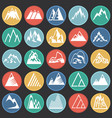 mountain icons set on color circles black vector image