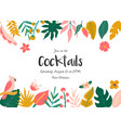party invitation with flowers birds and leaves vector image vector image
