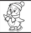 penguin character made in outline skates wearing a vector image vector image