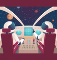 pilots in spaceship shuttle cockpit with vector image