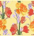 seamless pattern vintage yellow orange flowers vector image