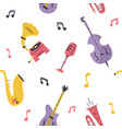 seamless pattern with musical instruments devices vector image