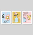 set modern cards with hand drawn details for vector image vector image