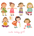 set with the girls vector image