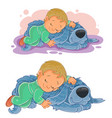 small child falling asleep using his dog vector image vector image