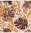 summer botanical seamless pattern grunge marble vector image vector image