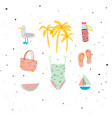 summer elements set seagull swimsuit slippers vector image vector image