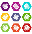 sun icon set color hexahedron vector image vector image