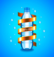 Water concept with plastic bottle and golden vector image vector image