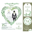 Wedding invitationGreen branches heart clothes vector image vector image