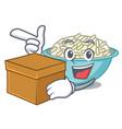 with box rice bowl character cartoon vector image