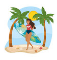 woman wearing swimsuit with surfboard and palms vector image vector image