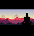 yoga meditation in the mountains relax vector image vector image