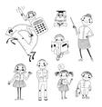 Hand drawn teacher and schoolchildren vector image