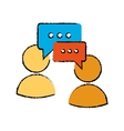 drawing two character speech bubble message media vector image