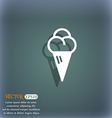 ice cream icon symbol on the blue-green abstract vector image