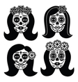Mexican La Catrina - Day of the Dead girl skull vector image