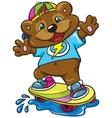 Bear skateboarder on a white background vector image