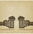hands with beer mugs old background vector image