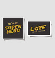 3d super hero and love lettering on gray vector image vector image