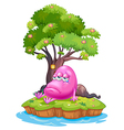 A pink monster crying in the island vector image vector image