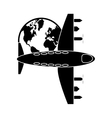 airplane and earth globe icon vector image vector image