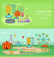amusement park banner set horizontal vector image vector image