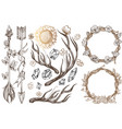 arrows and flowers a set of elements in the style vector image vector image