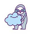 bashower cute sloth holding cloud cartoon vector image vector image