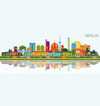berlin germany city skyline with color buildings vector image vector image