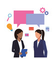 business workers and social media vector image