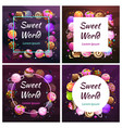 candy planet frames sweet world banners sweets vector image