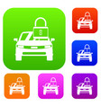 car with padlock set collection vector image vector image