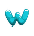 cartoon letter w in shape of blue air balloon vector image