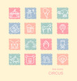 circus icons set in linear style on spots drawn vector image vector image