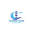 coastal lighthouse logo design vector image vector image
