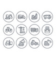 construction vehicles icons on white vector image