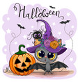 cute cartoon bat with pumpkin vector image vector image
