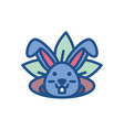 cute rabbit head and leaves line style icon vector image vector image