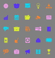 Data and information color icons on gray vector image vector image