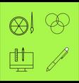design elements simple linear outline icon set vector image